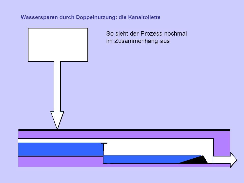 Wassersparen durch Doppelnutzung: die Kanaltoilette So sieht der Prozess nochmal im Zusammenhang aus