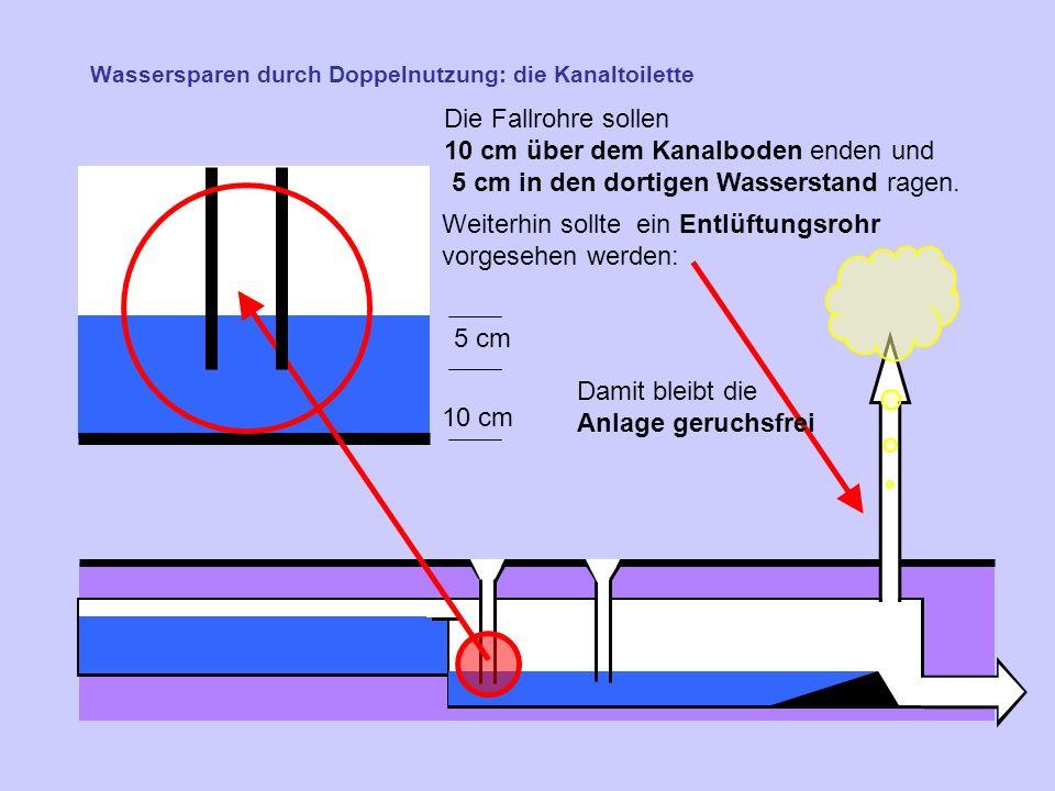 Wassersparen durch Doppelnutzung: die Kanaltoilette Die Fallrohre sollen 10 cm über dem Kanalboden enden und 5 cm in den dortigen Wasserstand ragen.