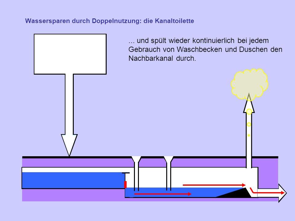 Wassersparen durch Doppelnutzung: die Kanaltoilette...