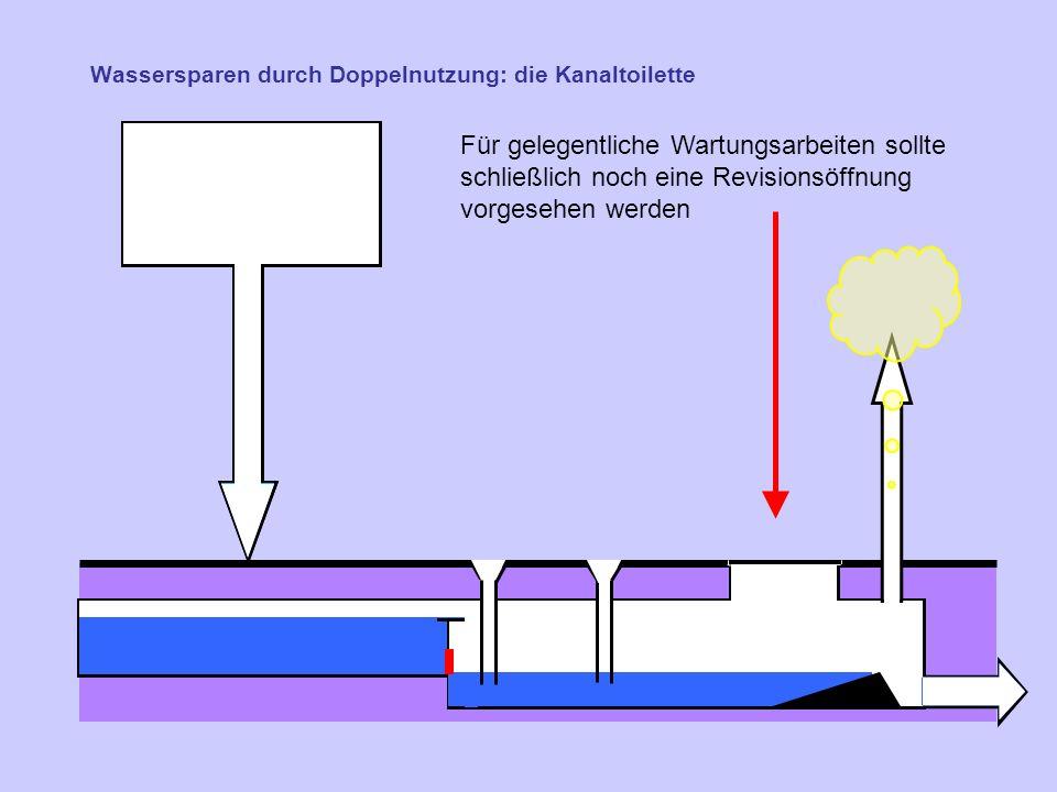 Wassersparen durch Doppelnutzung: die Kanaltoilette Für gelegentliche Wartungsarbeiten sollte schließlich noch eine Revisionsöffnung vorgesehen werden