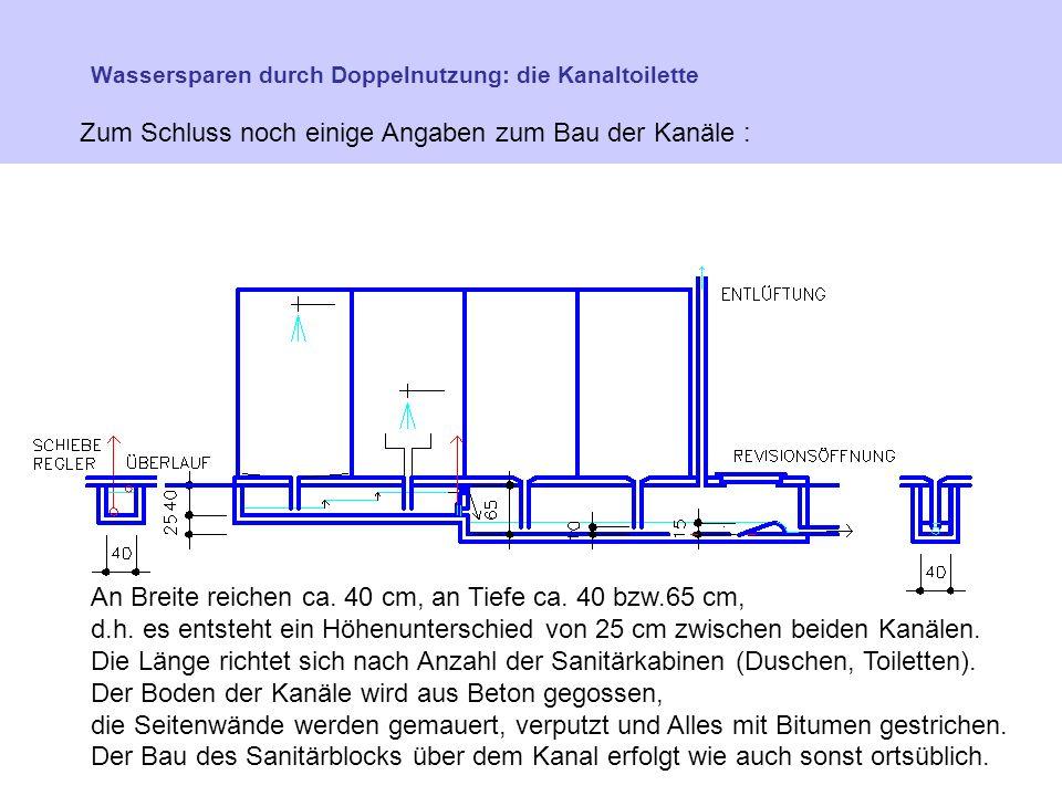 Wassersparen durch Doppelnutzung: die Kanaltoilette Zum Schluss noch einige Angaben zum Bau der Kanäle : An Breite reichen ca.