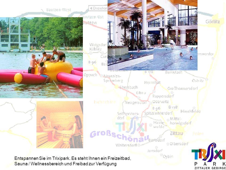 Entspannen Sie im Trixipark. Es steht Ihnen ein Freizeitbad, Sauna / Wellnessbereich und Freibad zur Verfügung