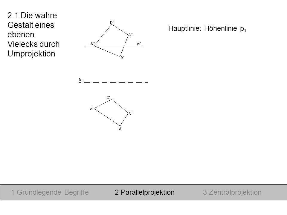 Hauptlinie: Höhenlinie p 1 1 Grundlegende Begriffe2 Parallelprojektion3 Zentralprojektion 2.1 Die wahre Gestalt eines ebenen Vielecks durch Umprojekti