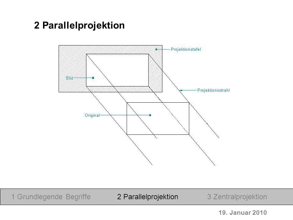 19. Januar 2010 1 Grundlegende Begriffe2 Parallelprojektion3 Zentralprojektion 2 Parallelprojektion