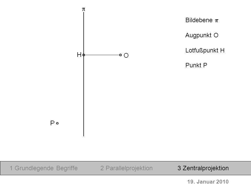 19. Januar 2010 Bildebene Augpunkt O Lotfußpunkt H Punkt P 1 Grundlegende Begriffe2 Parallelprojektion3 Zentralprojektion