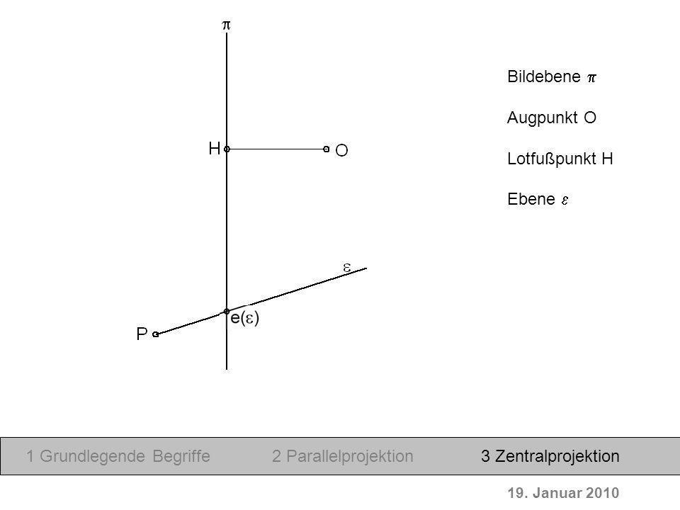 19. Januar 2010 Bildebene Augpunkt O Lotfußpunkt H Ebene 1 Grundlegende Begriffe2 Parallelprojektion3 Zentralprojektion
