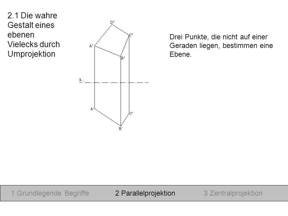 Drei Punkte, die nicht auf einer Geraden liegen, bestimmen eine Ebene. 1 Grundlegende Begriffe2 Parallelprojektion3 Zentralprojektion 2.1 Die wahre Ge