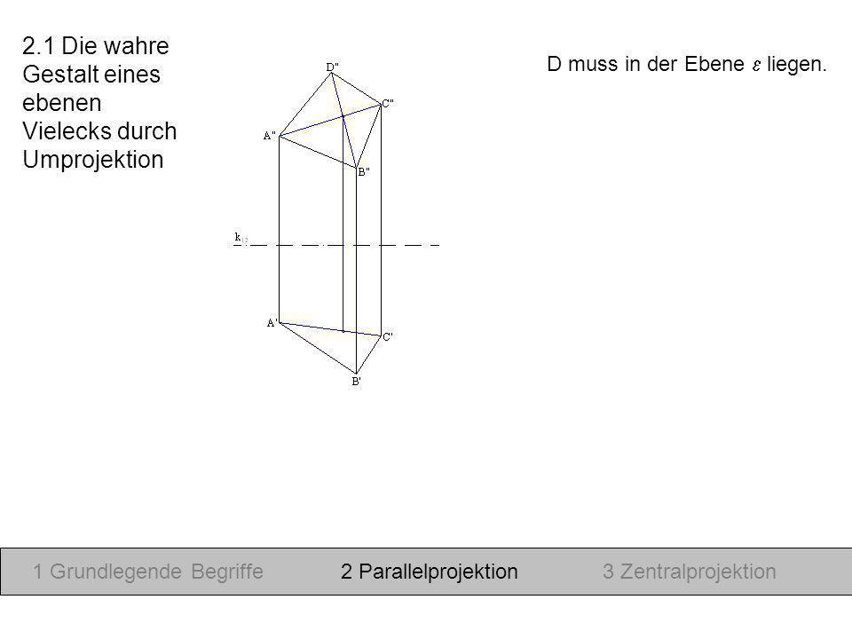 D muss in der Ebene liegen. 1 Grundlegende Begriffe2 Parallelprojektion3 Zentralprojektion 2.1 Die wahre Gestalt eines ebenen Vielecks durch Umprojekt