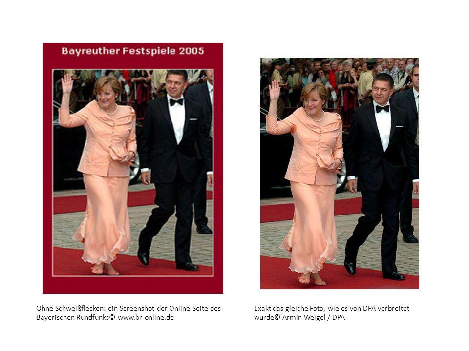 Ohne Schweißflecken: ein Screenshot der Online-Seite des Bayerischen Rundfunks© www.br-online.de Exakt das gleiche Foto, wie es von DPA verbreitet wur
