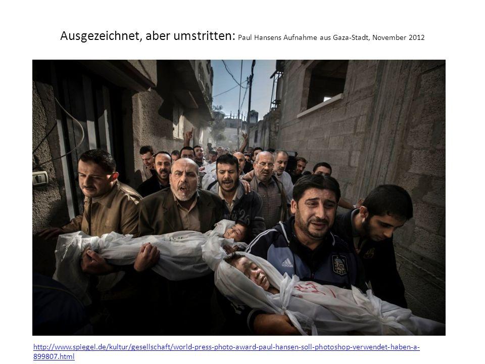 Ausgezeichnet, aber umstritten: Paul Hansens Aufnahme aus Gaza-Stadt, November 2012 http://www.spiegel.de/kultur/gesellschaft/world-press-photo-award-