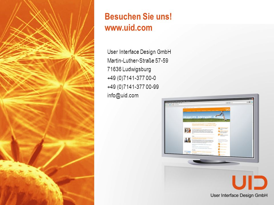 15 © User Interface Design GmbH Benutzerfreundliches GUI Design mit.NET WPF November 2009 Firmenportrait der User Interface Design GmbH Ein führendes