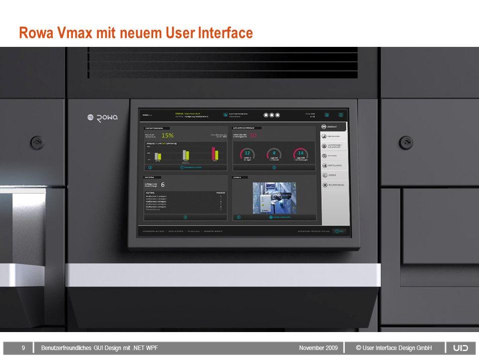 9 © User Interface Design GmbH Benutzerfreundliches GUI Design mit.NET WPF November 2009 Rowa Vmax mit neuem User Interface