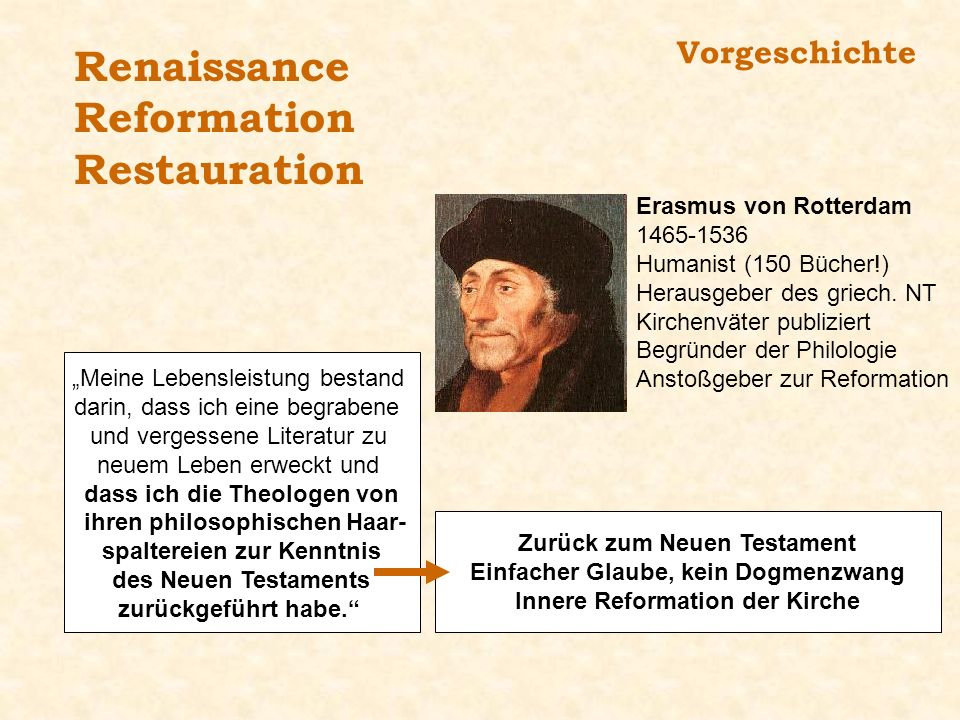 Vorgeschichte Renaissance Reformation Restauration Erasmus von Rotterdam 1465-1536 Humanist (150 Bücher!) Herausgeber des griech. NT Kirchenväter publ