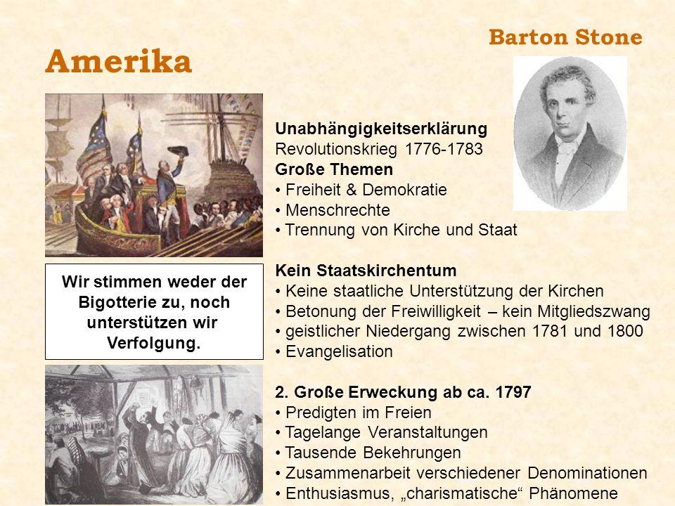 Barton Stone Amerika Unabhängigkeitserklärung Revolutionskrieg 1776-1783 Große Themen Freiheit & Demokratie Menschrechte Trennung von Kirche und Staat