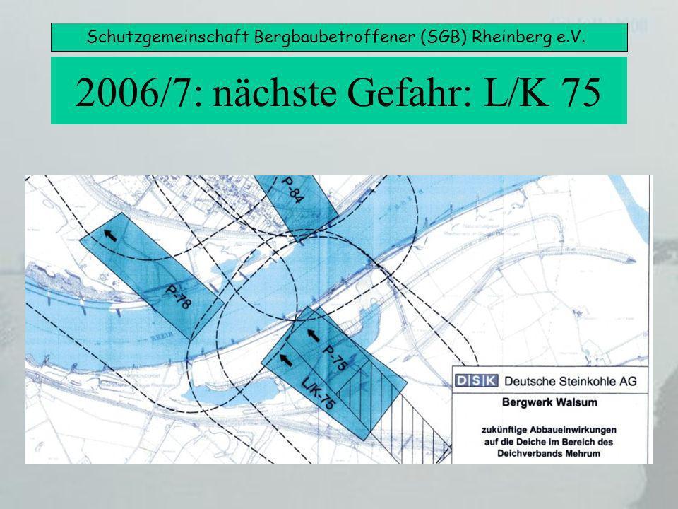 Schutzgemeinschaft Bergbaubetroffener (SGB) Rheinberg e.V. 2006/7: nächste Gefahr: L/K 75