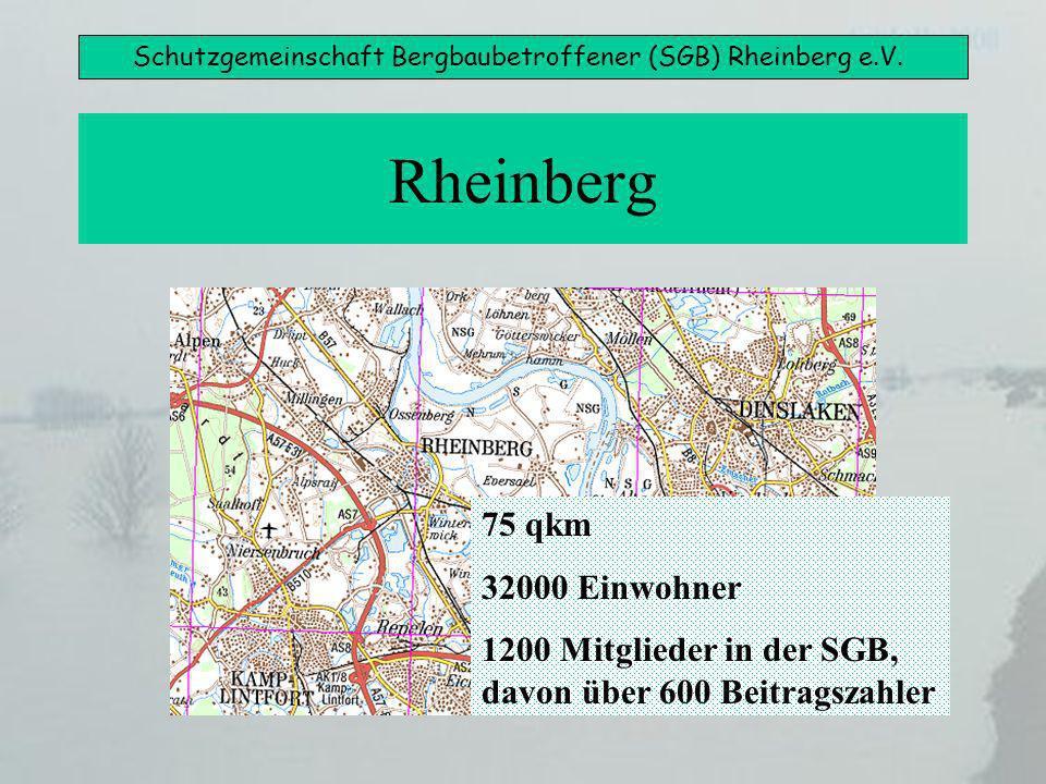Schutzgemeinschaft Bergbaubetroffener (SGB) Rheinberg e.V. Rheinberg 75 qkm 32000 Einwohner 1200 Mitglieder in der SGB, davon über 600 Beitragszahler