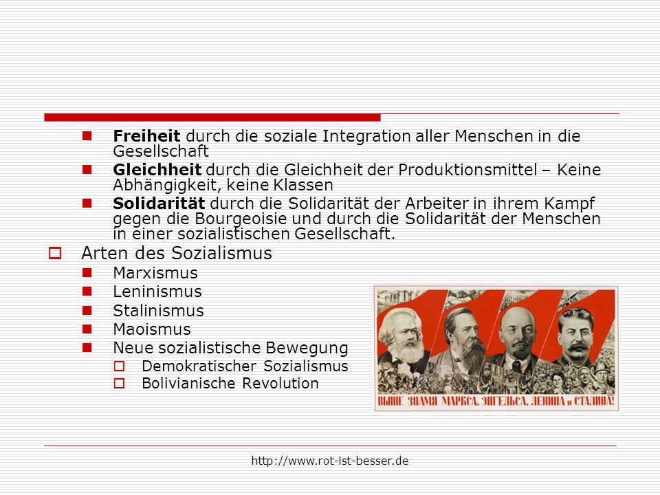 http://www.rot-ist-besser.de Freiheit durch die soziale Integration aller Menschen in die Gesellschaft Gleichheit durch die Gleichheit der Produktions