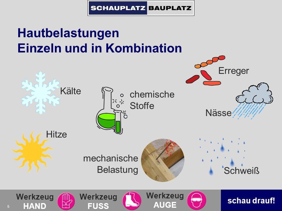 Werkzeug HAND Werkzeug FUSS Werkzeug AUGE schau drauf! 5 Hautbelastungen Einzeln und in Kombination Kälte chemische Stoffe Nässe Hitze Schweiß Erreger