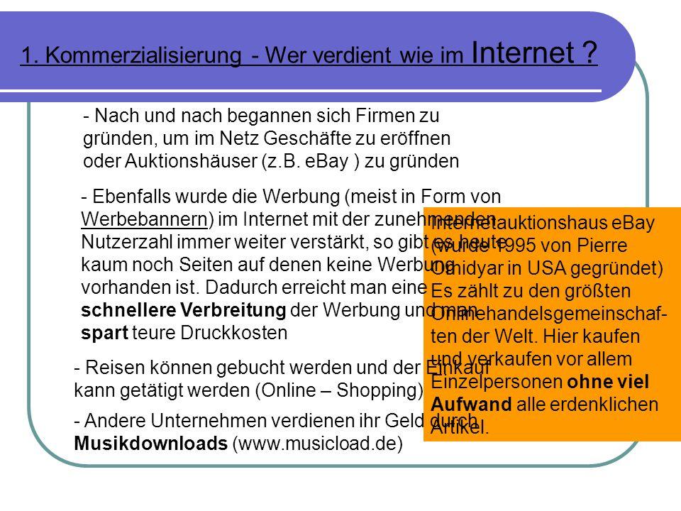 1.Kommerzialisierung - Wer verdient wie im Internet .