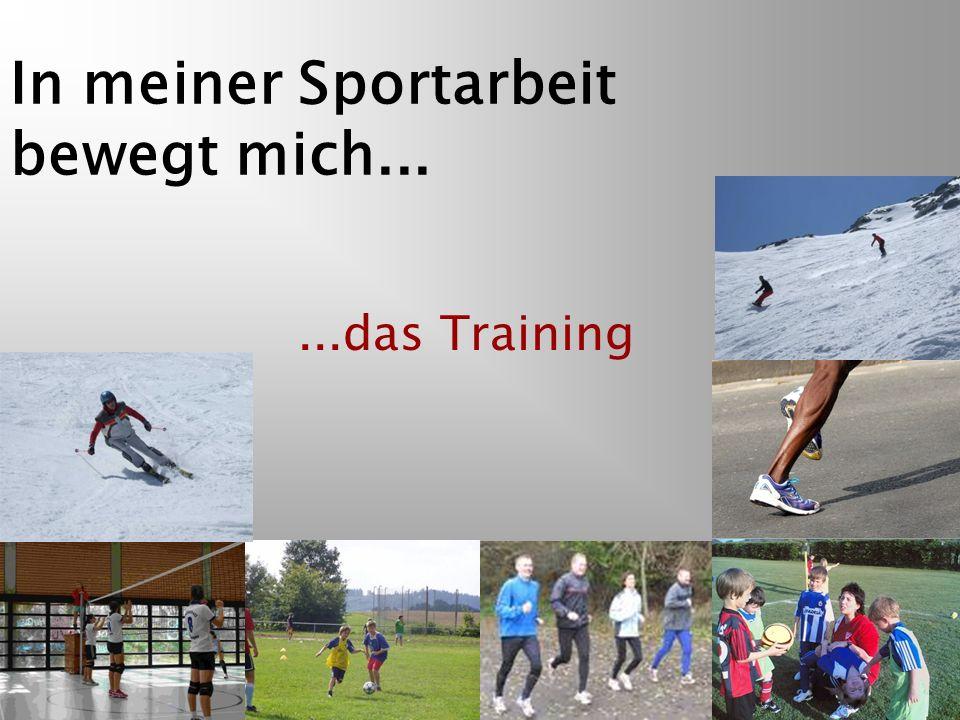 In meiner Sportarbeit bewegt mich......das Training