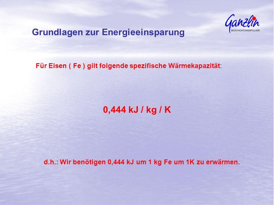 Für Eisen ( Fe ) gilt folgende spezifische Wärmekapazität: 0,444 kJ / kg / K d.h.: Wir benötigen 0,444 kJ um 1 kg Fe um 1K zu erwärmen. Grundlagen zur