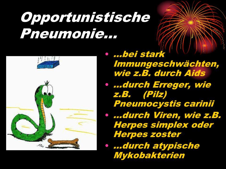 Sekundäre Pneumonie… …durch Vorerkrankungen begünstigt wie z.B. Bettlägerigkeit Diabetes Mellitus Herzinsuffizienz links Lungenembolie Chronische Bron