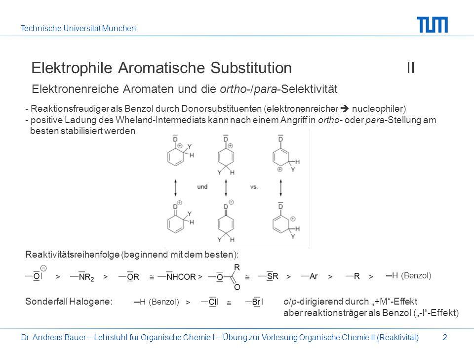 Technische Universität München Dr. Andreas Bauer – Lehrstuhl für Organische Chemie I – Übung zur Vorlesung Organische Chemie II (Reaktivität)2 Elektro