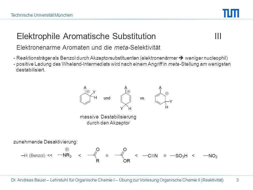 Technische Universität München Dr. Andreas Bauer – Lehrstuhl für Organische Chemie I – Übung zur Vorlesung Organische Chemie II (Reaktivität)3 Elektro