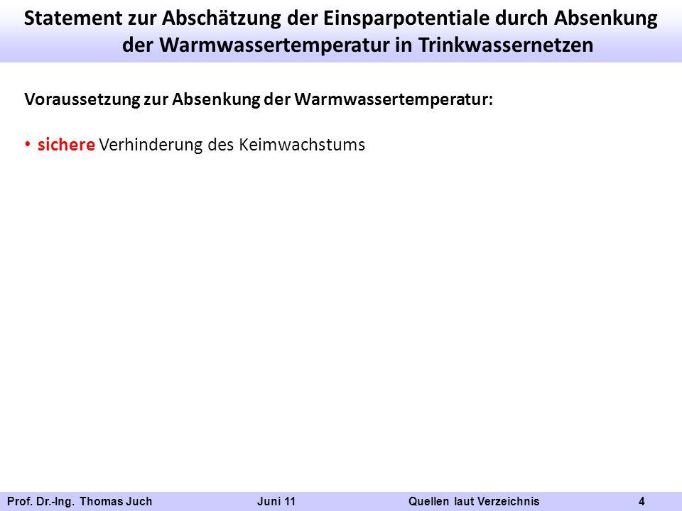 Prof. Dr.-Ing. Thomas Juch Juni 11 Quellen laut Verzeichnis 4 Statement zur Abschätzung der Einsparpotentiale durch Absenkung der Warmwassertemperatur