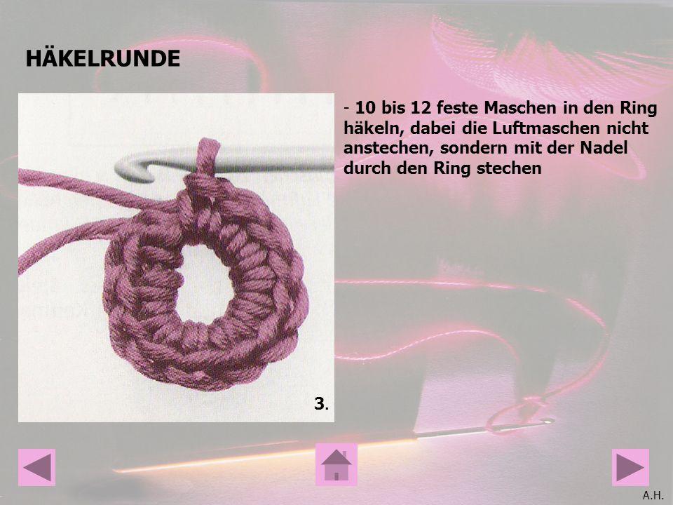 A.H. HÄKELRUNDE 3.3. - 10 bis 12 feste Maschen in den Ring häkeln, dabei die Luftmaschen nicht anstechen, sondern mit der Nadel durch den Ring stechen