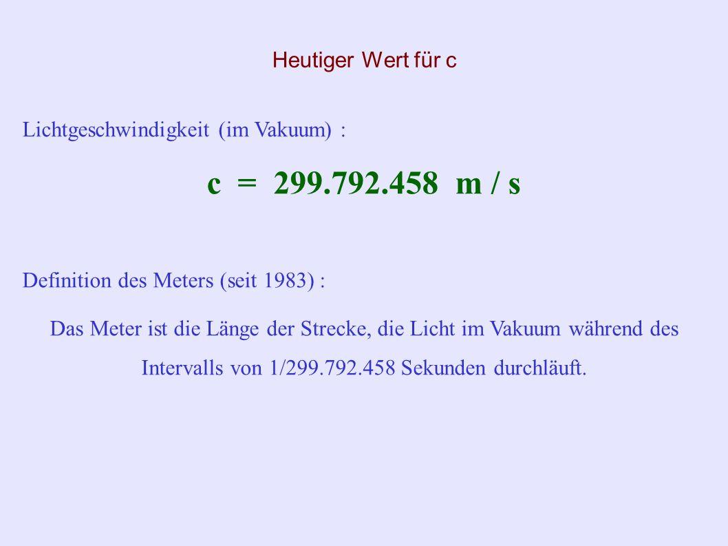 Messung der Lichtgeschwindigkeit durch Hippolyte Fizeau (Fortsetzung) c = (2 d) / t mit : t = T / N Dunkelheit bei 12,6 Umdrehungen pro Sekunde; damit : T = 1 / (12,6) s Zahnrad mit 720 Zähnen; damit : N = 1440 Lücken und Zähne c 3,13 · 10 8 m/s