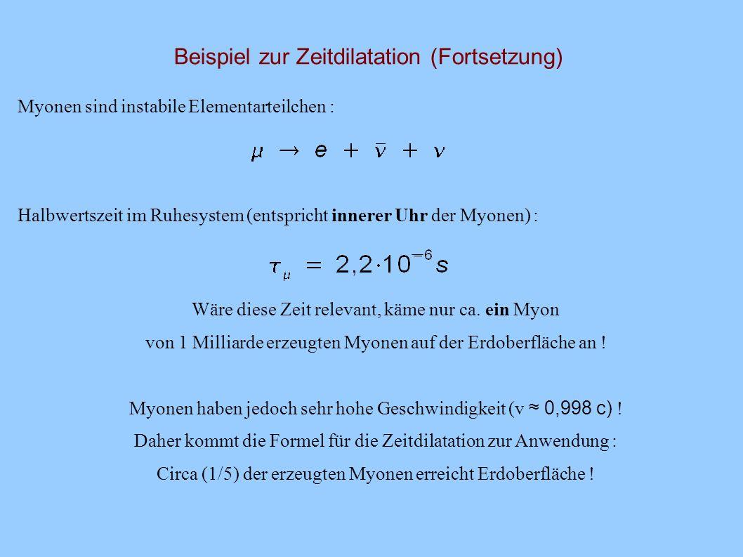 Beispiel zur Zeitdilatation Kosmische Strahlung : hauptsächlich Protonen und alpha-Strahlung in der Erdatmosphäre (ca.