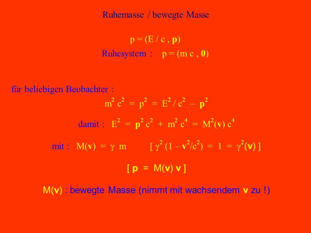 Energie = Masse E = m c 2 Vorbemerkung :Energie E:[E] = Joule = kg m 2 / s 2 Impuls p:p = m v = m (d/dt) x [p] = kg m / s Fasse Energie und Impuls zu 4er-Größe zusammen : p = (E / c, p) Ruhesystem (p = 0) : p = (E / c, 0) = m (d/dt) (c t, x) = (m c, 0) m : Ruhemasse