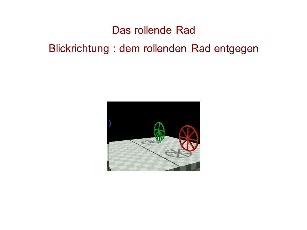 Das rollende Rad Blickrichtung : dem rollenden Rad hinterher
