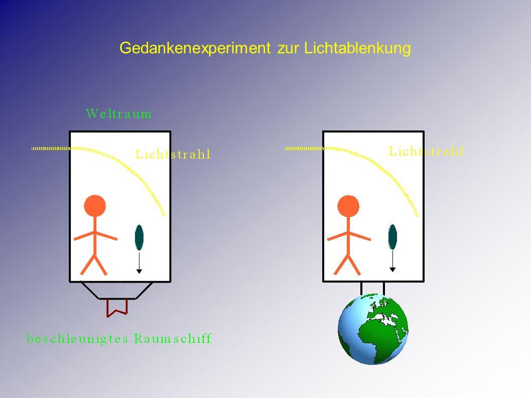 Äquivalenzprinzip Die Schwerkraft (Gravitation) läßt sich wegtransformieren .