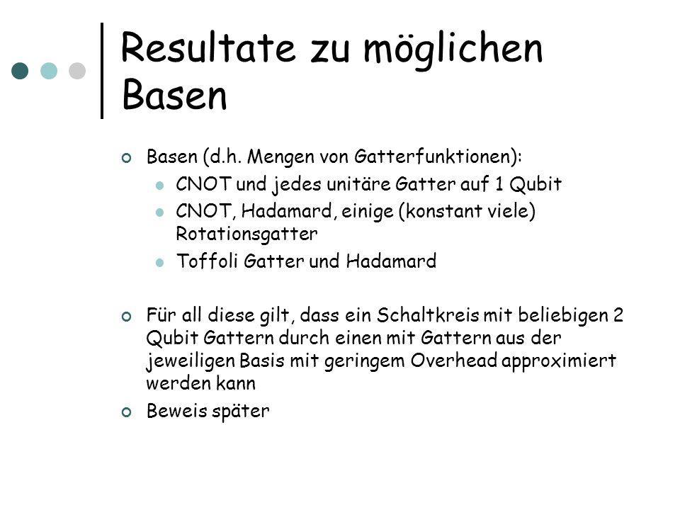 Resultate zu möglichen Basen Basen (d.h.
