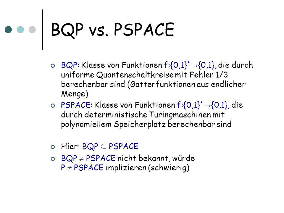 BQP vs. PSPACE BQP: Klasse von Funktionen f:{0,1} * ! {0,1}, die durch uniforme Quantenschaltkreise mit Fehler 1/3 berechenbar sind (Gatterfunktionen