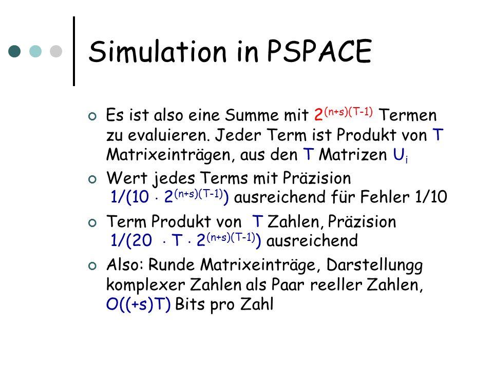 Simulation in PSPACE Es ist also eine Summe mit 2 (n+s)(T-1) Termen zu evaluieren. Jeder Term ist Produkt von T Matrixeinträgen, aus den T Matrizen U