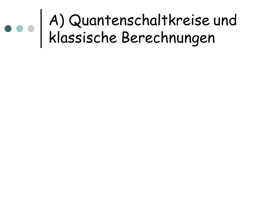 Quantenschaltkreise n Qubits initialisiert mit der Eingabe s Arbeitsqubits Unitäre Operationen auf zwei Qubits U 1,…,U m ; zusammen mit Wahl der zwei Qubits Operation U i wird als Tensorprodukt mit der Identität auf den n+s-2 restlichen Qubits angewendet Zu messendes Ausgabequbit sei fix