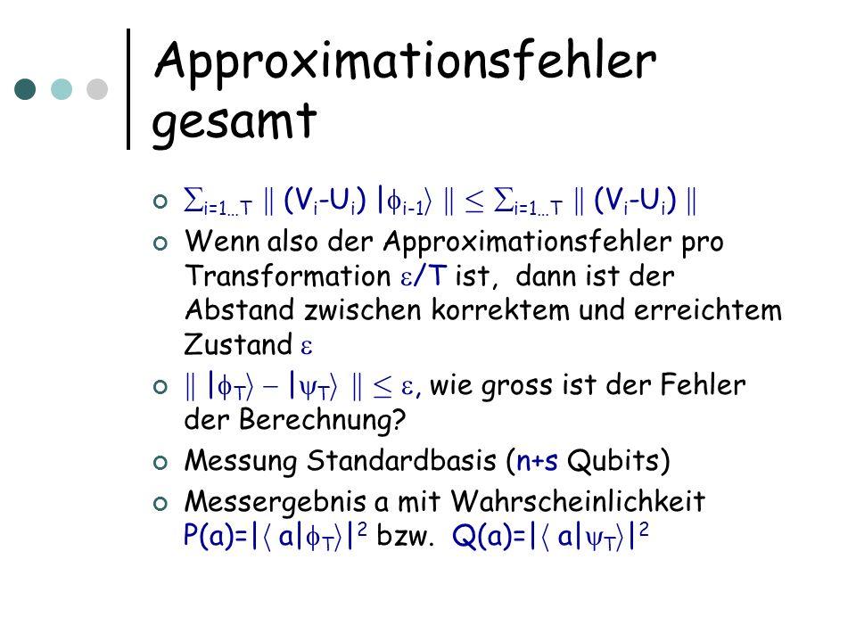Approximationsfehler gesamt i=1…T k (V i -U i ) | i-1 i k · i=1…T k (V i -U i ) k Wenn also der Approximationsfehler pro Transformation /T ist, dann ist der Abstand zwischen korrektem und erreichtem Zustand k | T i | T i k ·, wie gross ist der Fehler der Berechnung.
