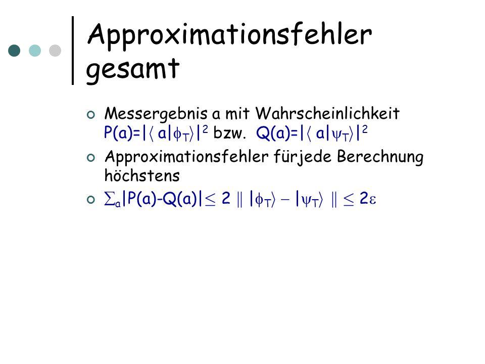 Approximationsfehler gesamt Messergebnis a mit Wahrscheinlichkeit P(a)=| h a| T i | 2 bzw. Q(a)=| h a| T i | 2 Approximationsfehler fürjede Berechnung