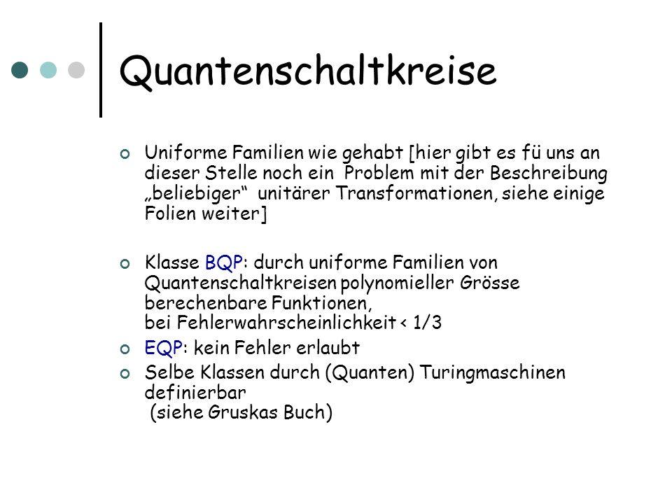 Simulation in PSPACE Gegeben ist uniforme Quantenschaltkreisfamilie (d.h.