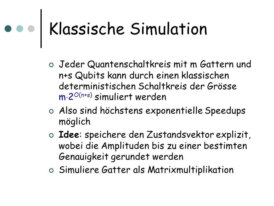 Klassische Simulation Jeder Quantenschaltkreis mit m Gattern und n+s Qubits kann durch einen klassischen deterministischen Schaltkreis der Grösse m ¢ 2 O(n+s) simuliert werden Also sind höchstens exponentielle Speedups möglich Idee: speichere den Zustandsvektor explizit, wobei die Amplituden bis zu einer bestimten Genauigkeit gerundet werden Simuliere Gatter als Matrixmultiplikation