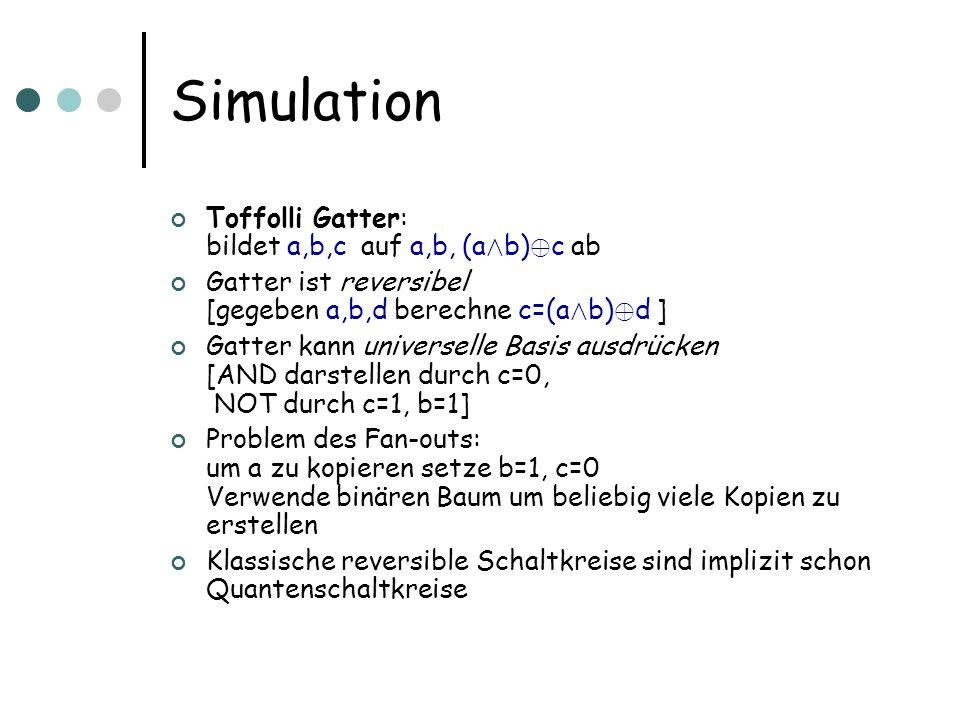 Simulation Toffolli Gatter: bildet a,b,c auf a,b, (a Æ b) © c ab Gatter ist reversibel [gegeben a,b,d berechne c=(a Æ b) © d ] Gatter kann universelle
