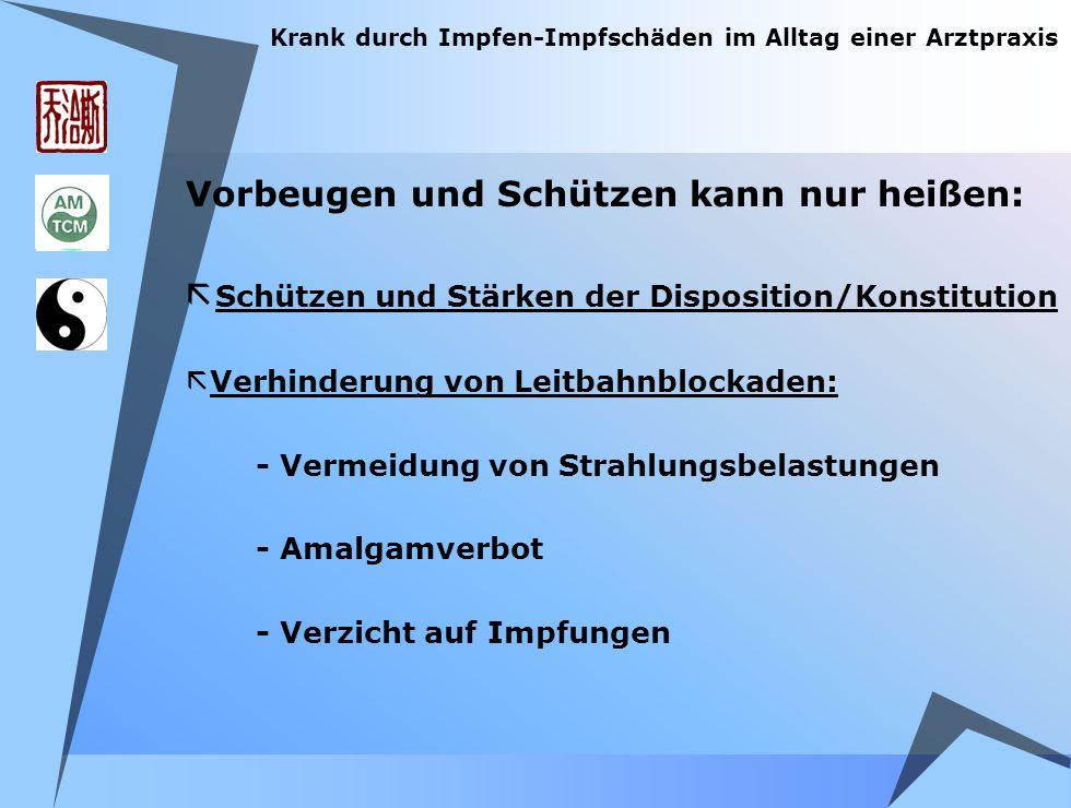 Vorbeugen und Schützen kann nur heißen: ã Schützen und Stärken der Disposition/Konstitution ã Verhinderung von Leitbahnblockaden: - Vermeidung von Str