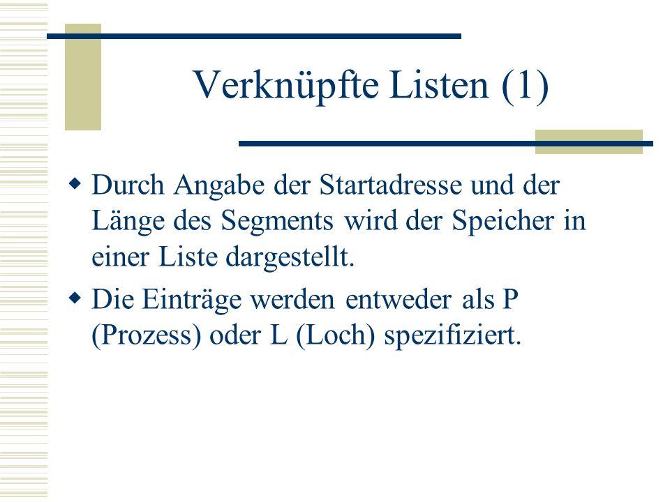 Verknüpfte Listen (1) Durch Angabe der Startadresse und der Länge des Segments wird der Speicher in einer Liste dargestellt. Die Einträge werden entwe