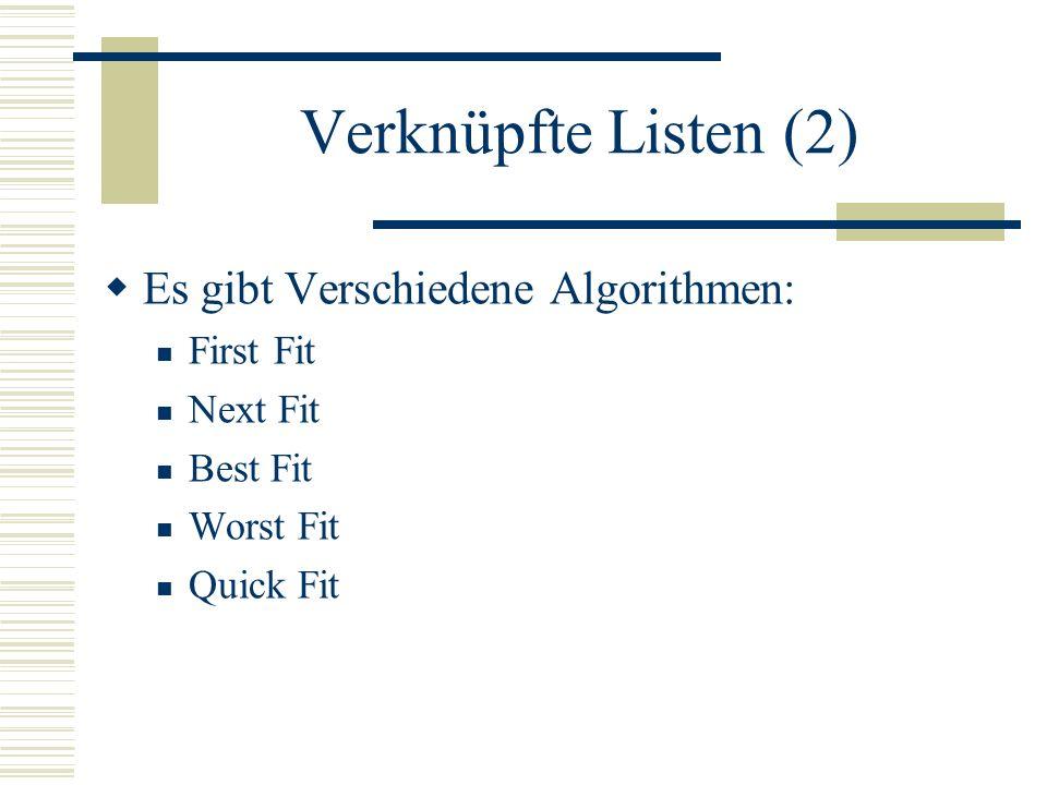 Verknüpfte Listen (2) Es gibt Verschiedene Algorithmen: First Fit Next Fit Best Fit Worst Fit Quick Fit