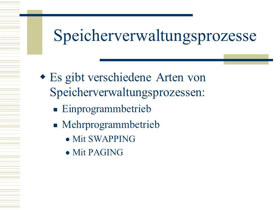 Speicherverwaltungsprozesse Es gibt verschiedene Arten von Speicherverwaltungsprozessen: Einprogrammbetrieb Mehrprogrammbetrieb Mit SWAPPING Mit PAGIN
