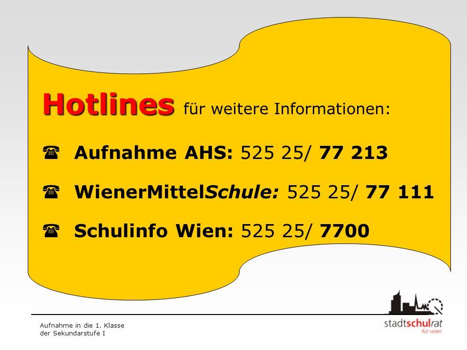 Aufnahme in die 1. Klasse der Sekundarstufe I Hotlines Hotlines für weitere Informationen: Aufnahme AHS: 525 25/ 77 213 WienerMittelSchule: 525 25/ 77