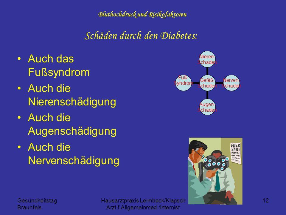 Gesundheitstag Braunfels Hausarztpraxis Leimbeck/Klapsch Arzt f.Allgemeinmed./Internist 12 Bluthochdruck und Risikofaktoren Schäden durch den Diabetes